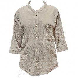 Orzechowa koszula z gazy bawełnianej, idealna na upalne lato. Do zamówienia w butiku latkafashion.com
