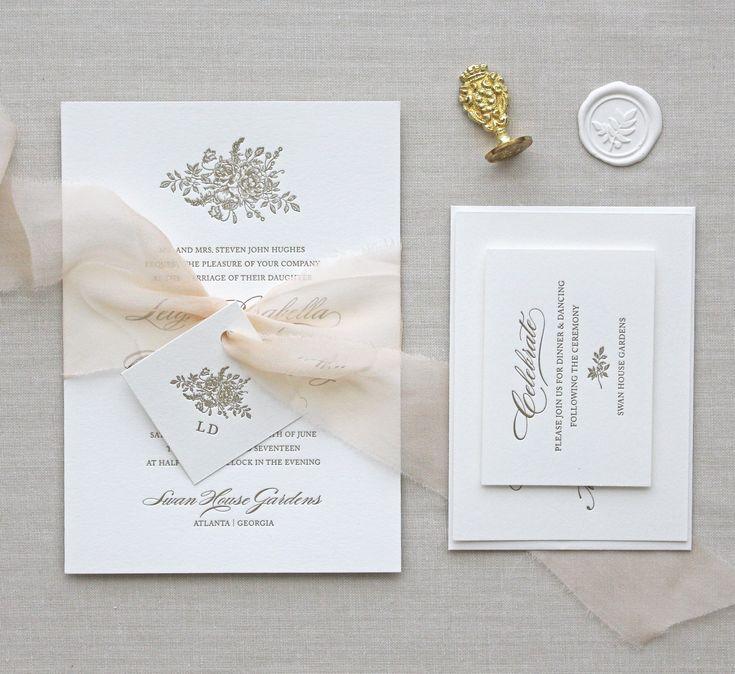 how many stamps do i need for my wedding invitations%0A Letterpress Wedding Invitation   Bouquet Design  CHATHAM  u     CARON  letterpress studio   spring summer wedding