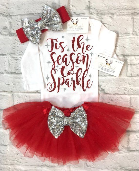 Girls Christmas Outfits, Tis The Season To Sparkle, Baby Girl