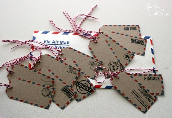 AIR MAIL labels - x 12 - theme travel