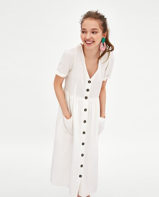 f75a5ea21e Image 2 of LINEN MIDI DRESS WITH BUTTON FASTENING from Zara