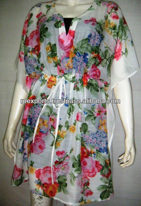/de poliéster de alta más reciente de la moda flor impresa caftán/ropa de playa encubrimientos 2013-Blusas Mujer-Identificación del producto:137274667-spanish.alibaba.com