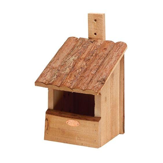 Nichoir en bois solide spécifiquement conçu pour accueillir les rouge-gorge, à fixer.