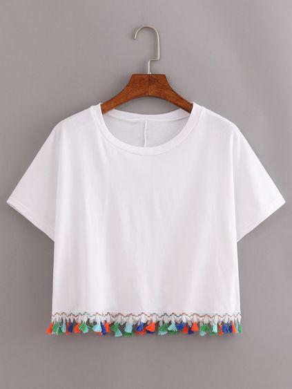 White Contrast Fringe T-Shirt Mobile Site