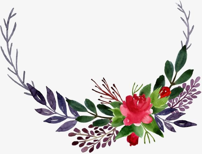 Watercolor Corner Flower Leaves Flower Clipart Watercolor Flowers