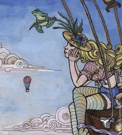 Фантазийные сюжеты ручной работы. Заказать Лягушки путешественницы.  Полет, путешествия, акварель