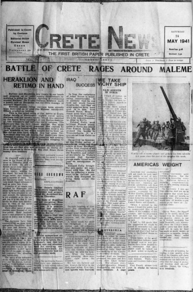 British military paper at Chania.