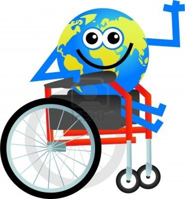 cartoon globe man sitting in a disabled wheelchair Stock Photo