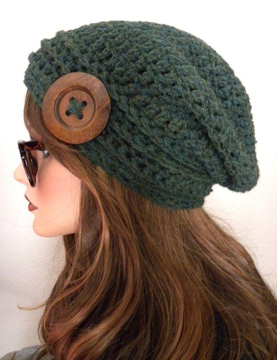 Verde de cazador Tweed Boho Chic Slouchy Beanie por FreeSpiritHats
