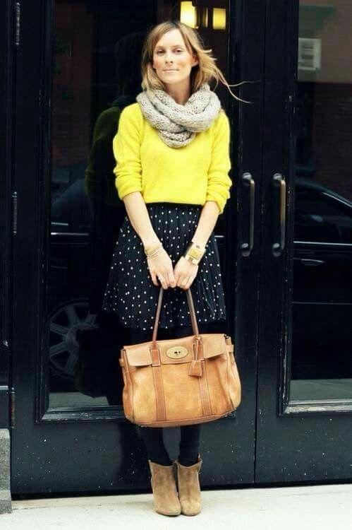 Yellow snd dots skirt