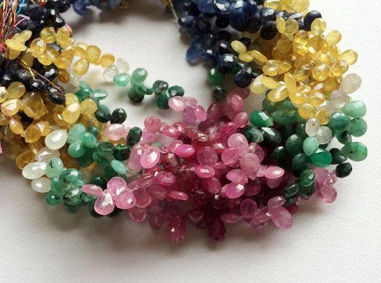 Multi Rainbow  Multi Gemstone Emerald Beads by gemsforjewels