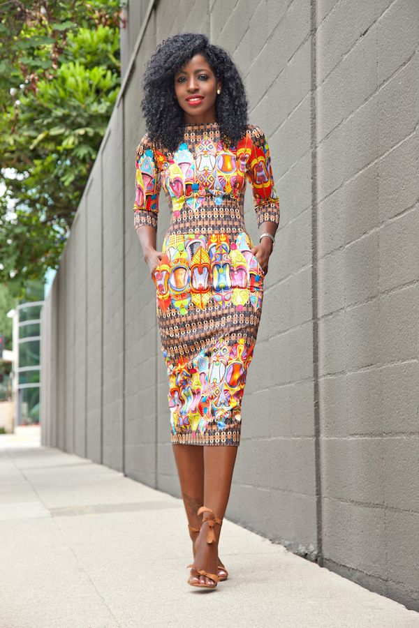 Style Pantry - Fitted Print Midi Dress