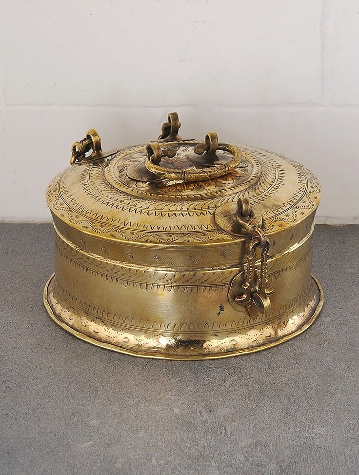 Buy Dull Gold Vintage Brass Round Box With Handle 8 5in X 4 5in Art Finds