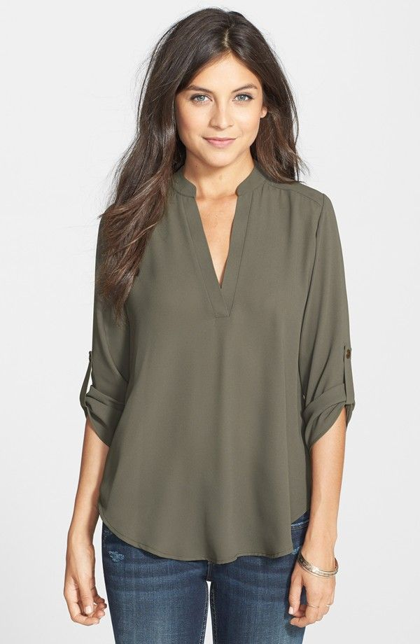 Roll Tab Sleeve Woven Shirt / Nordstrom