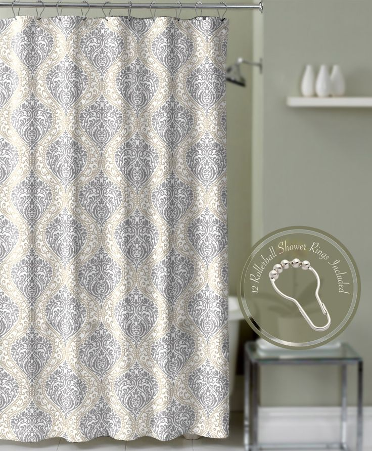 Crest Home Valencia Damask Medallion Shower Curtain Taupe Gray And Roller Ball Hooks Curtains