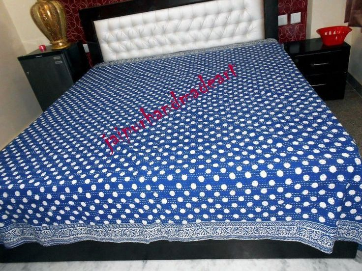 Kantha Quilt Block Print Indigo Blue Kantha Bed Cover Quilt Kantha Bedspread  #Handmade #ArtDecoStyle