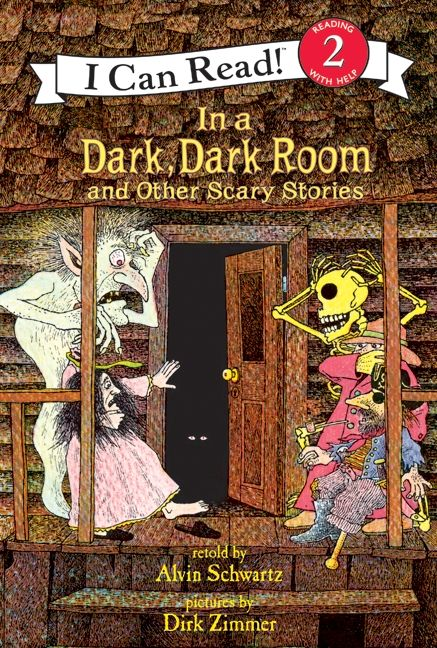 """""""In a Dark, Dark Room and Other Scary Stories"""", retold by Alvin Schwartz, pictures by Dirk Zimmer - Terrifying traditional tales, once told, they'll be the stuff of urban legends and campfire spooking for life. Scaring both toughened and emerging readers since 1984."""