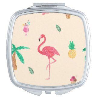 Flamingos in the Summer Makeup Mirror  #tropical #watercolor #flamingo #daquiri #pineapple #flower #pattern  #floral #print #spring #palmtree #palmtrees #summer #compactmirror #compact #mirror