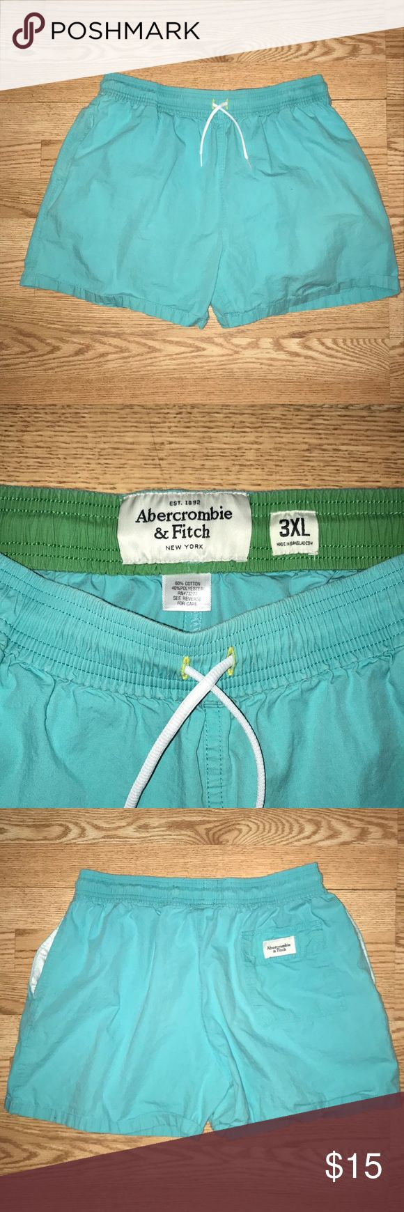 Abercrombie and Fitch Men's Teal shorts Abercrombie and Fitch Men's Teal shorts Size says 3XL They fit like a 34-35  I'm a 35-36 and they fit a little snug.  Elastic/Draw string  Two pockets One butt pocket; Velcro Abercrombie & Fitch Shorts
