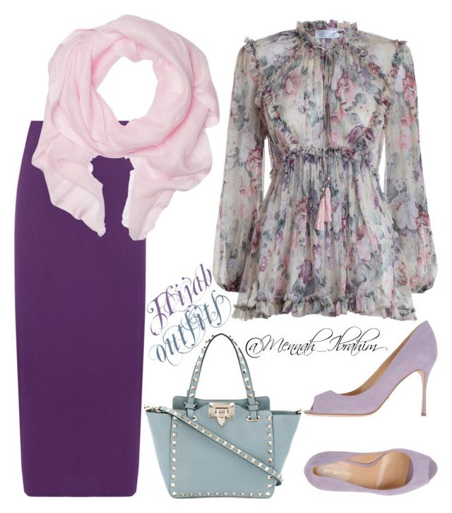 """#Hijab_outfits #modesty #flowery"" by mennah-ibrahim on Polyvore featuring Zimmermann, WearAll, Love Quotes Scarves, Sergio Rossi, Valentino and plus size clothing"