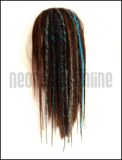 Brown and turquoise dread wig Brown dreadlock by NeonBlackOnline