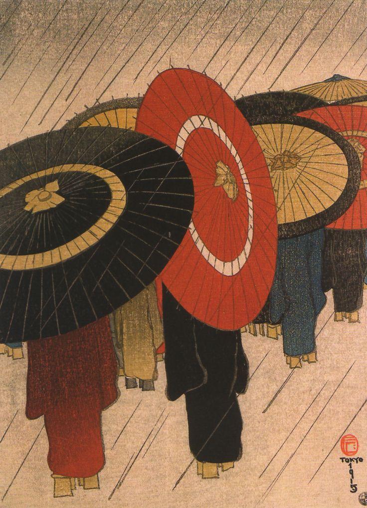 Japanese woodcut Tokyo 1915
