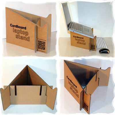 Cardboard slotted laptop stand. Very creative and environmental friendly.