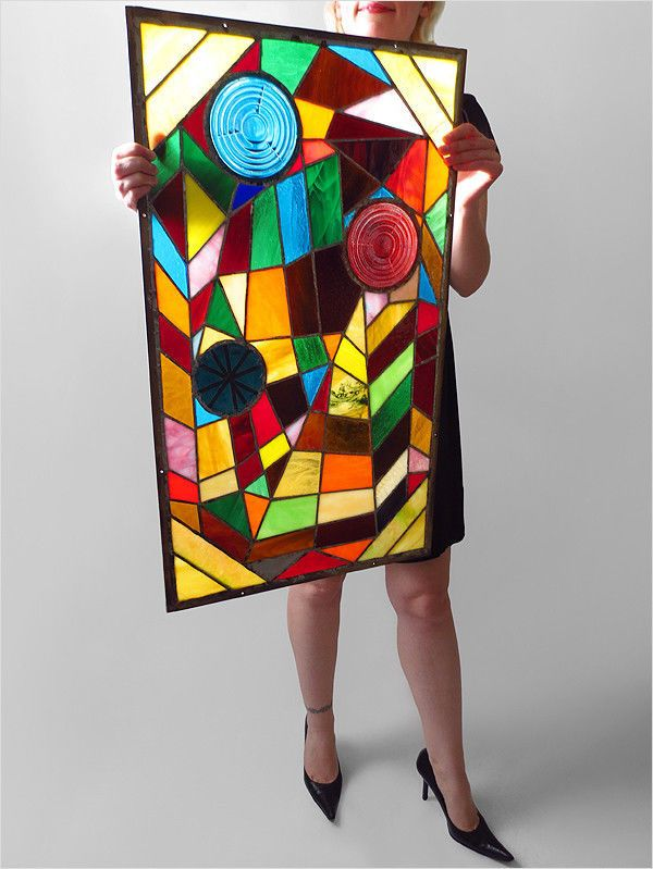 1960's Hand Made Stained Glass Panel Mid Century Modern Abstract Art Eames Era | eBay