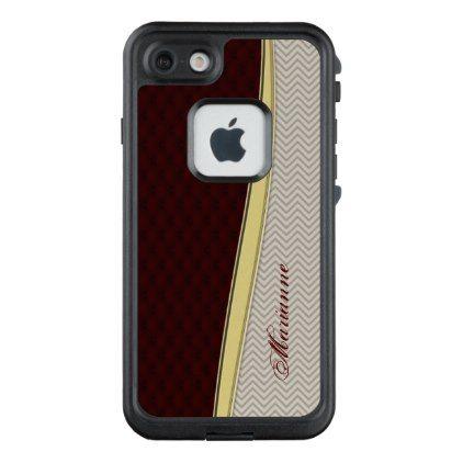 #monogram - #Gold Royal Burgundy Leather Chevron Monogram LifeProof FRĒ iPhone 7 Case