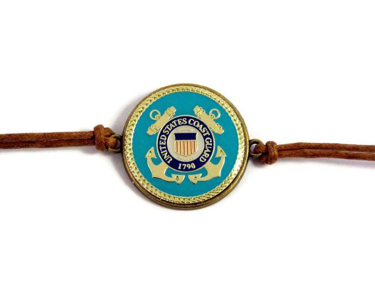 US Coast Guard Logo Bracelet - Mom Wife Fiance Girlfriend Sister Volunteer Coastie Coast Guardsman Veteran Retirement Mothers Day Gift by ButtonPressed on Etsy