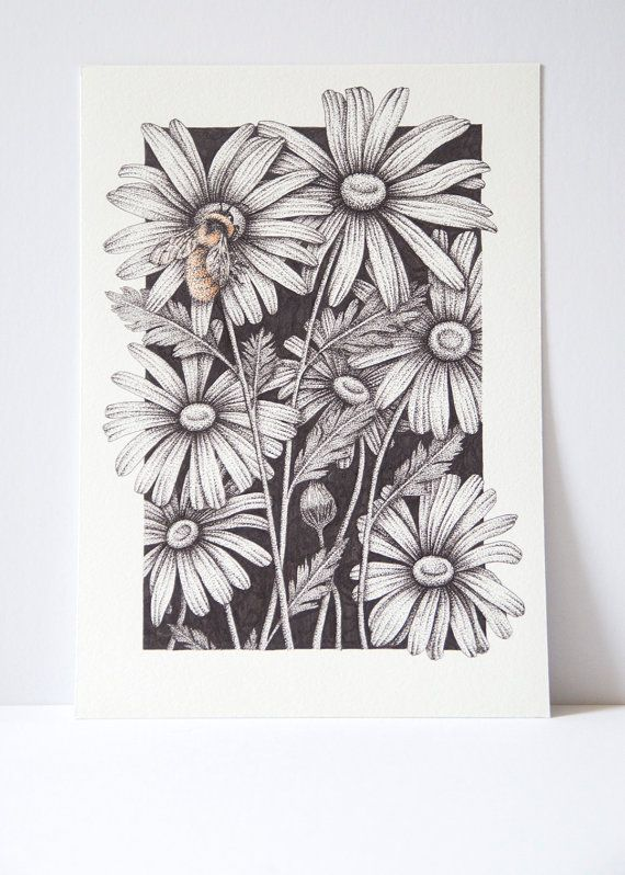 Bumble Bee print, bee art, save the bees, pointillism art, dot work, flora and f...