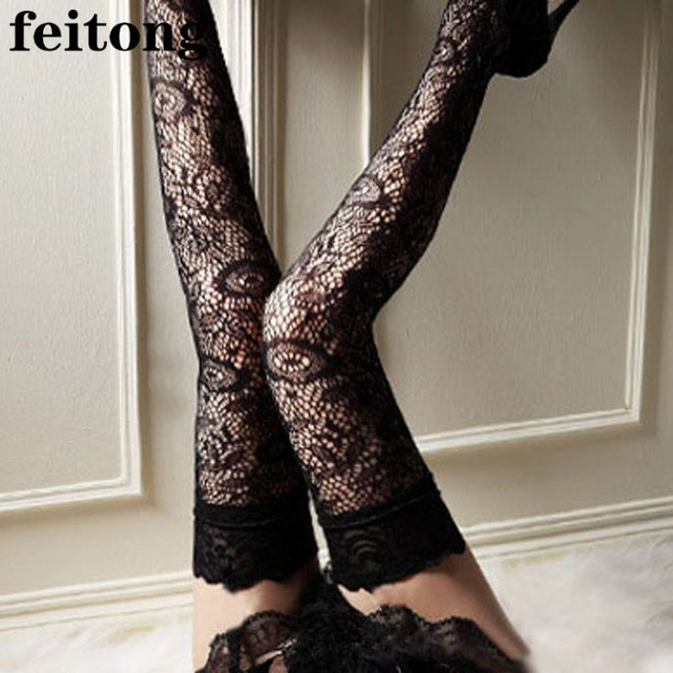 Feitong Sexy Stockings Women Bowknot Print Sheer Lace Top Knee Thigh High Stockings Thigh High Socks Medias Chaussette