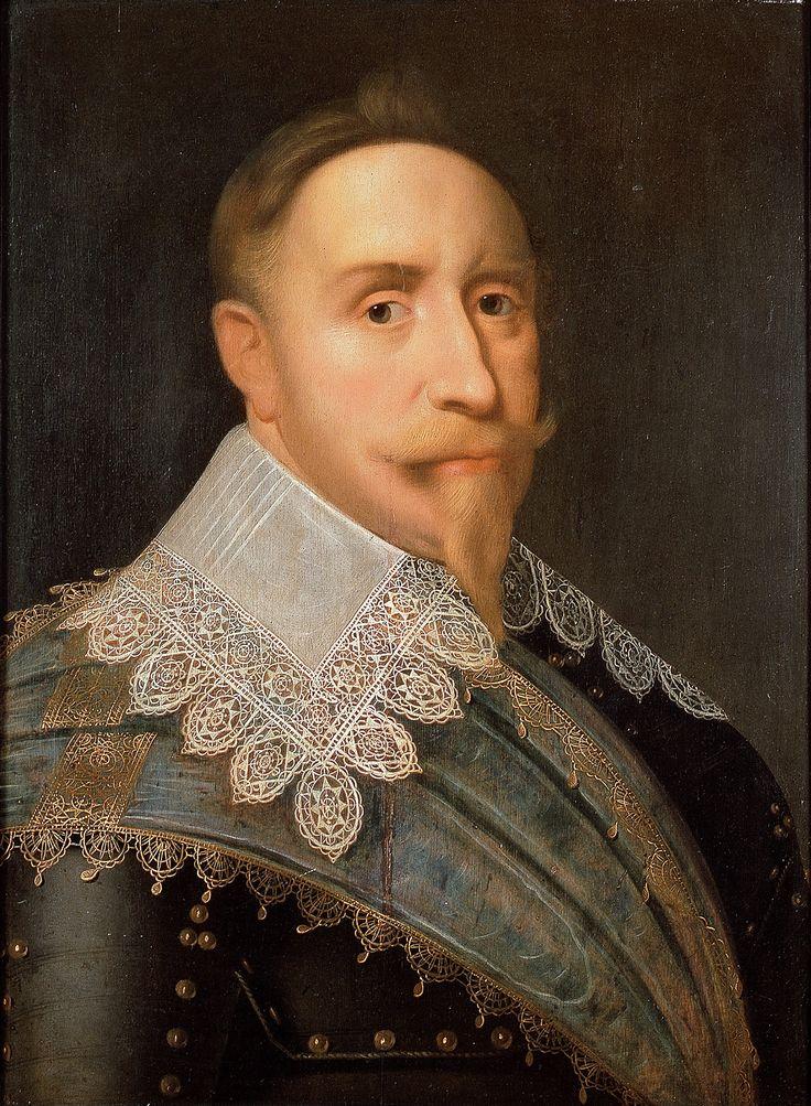 Rei Gustavo II Adolfo da Suécia. Pintura atribuída a Jacob Hoefnagel, 1624. Livrustkammaren, Estocolmo.
