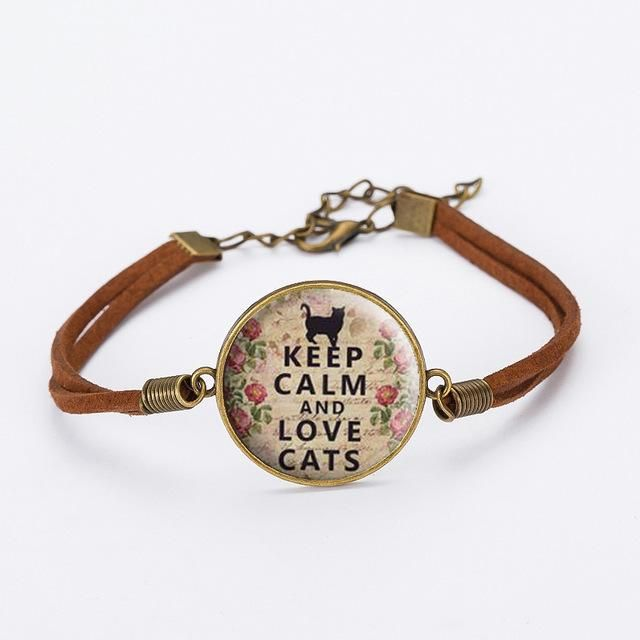 Caxybb Lovely cat Bangles Glass Bracelet Pet cat brown Leather cord bracelet for women Gifts free shipping B-L135