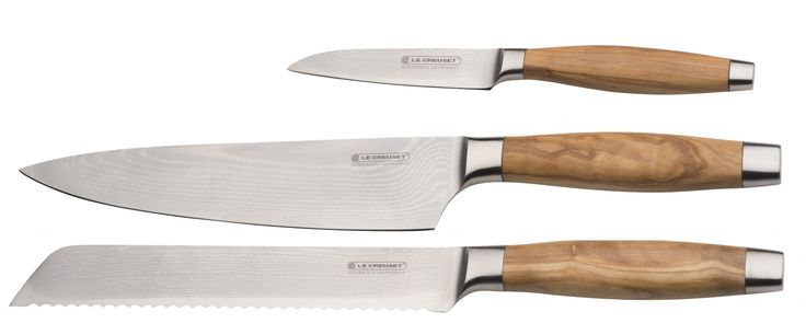 Le Creuset Knivset 3-delar med Olivhandtag