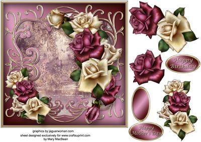 Roses at the Pond Decoupage Card Front
