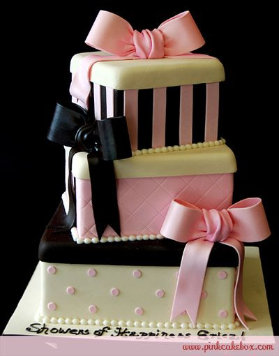 Baby Shower Pink Gift Box Cake