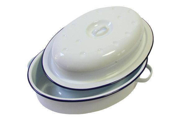 Falcon Enamel Oval Roaster Pan with lid — Vintage and Nostalgia Co.