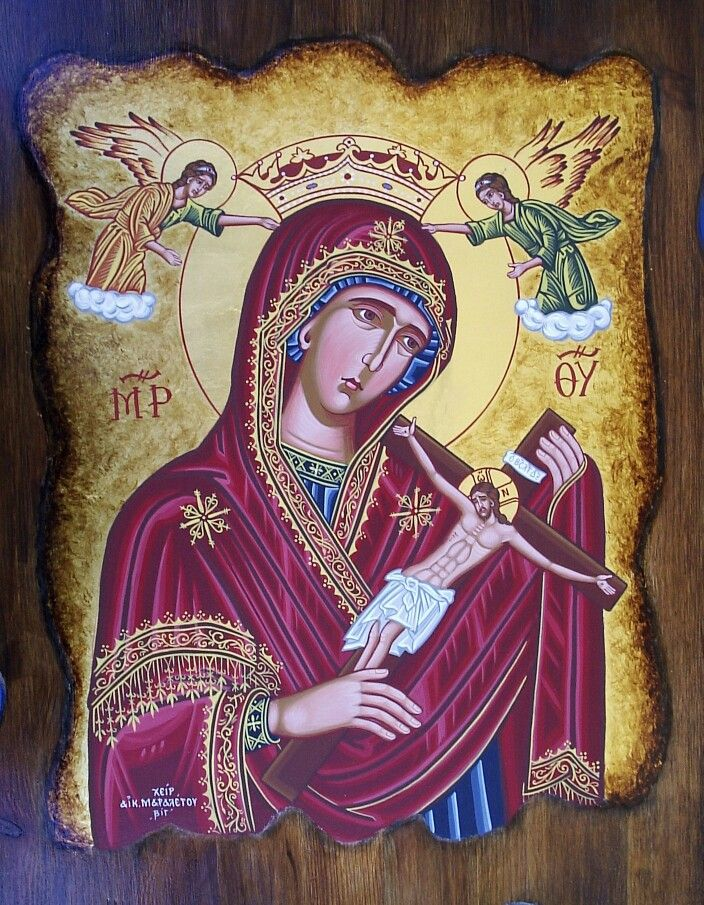 Virgin Mary of Death  Antique style 70 x 50 cm antique gold leaf 23k By www.anatasipsixis.com
