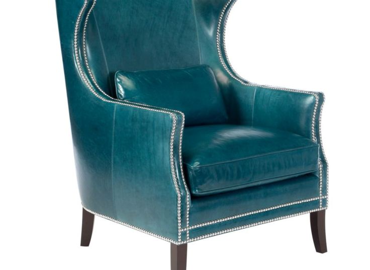 Eddie accent chair in gorgeous teal leather with brass for Teal accent chairs in living room