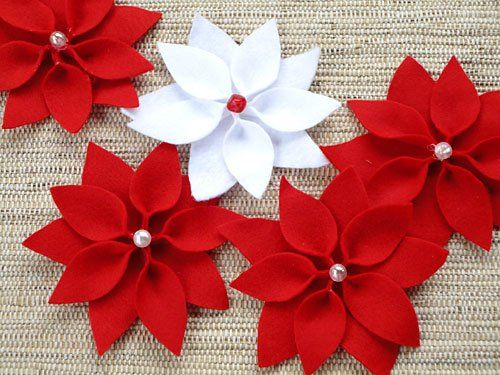 Flor de Natal de Feltro - Passo a passo