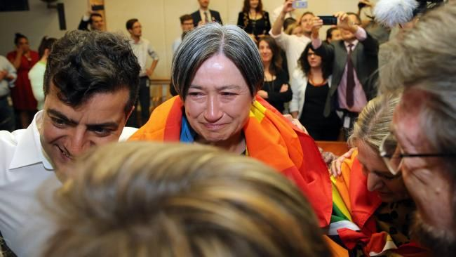 SENATOR Penny Wong has made a moving speech after describing her embarrassment over the moment she burst into tears when she learned Australia had voted Yes for same-sex marriage.