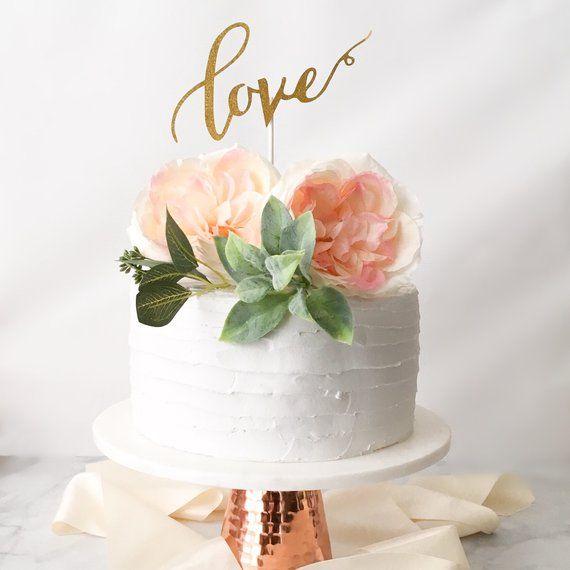 Love Cake Topper Wedding Bridal Shower Cake Decorations Etsy Bridal Shower Cake Topper Simple Wedding Cake Wedding Shower Cakes