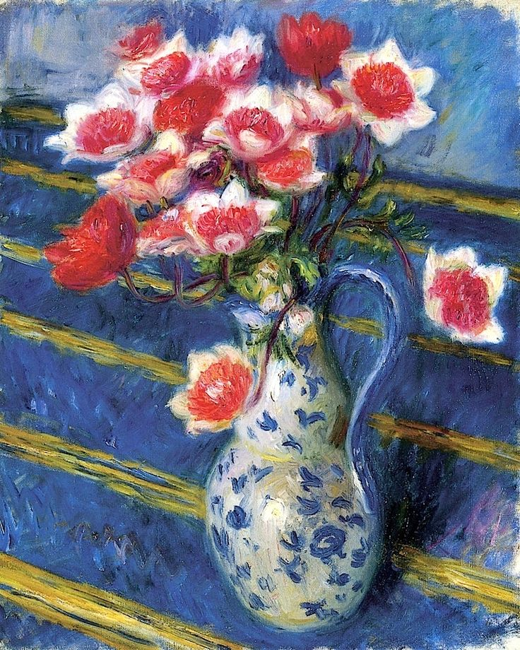 Red and White Anemones William James Glackens - circa 1925-1930