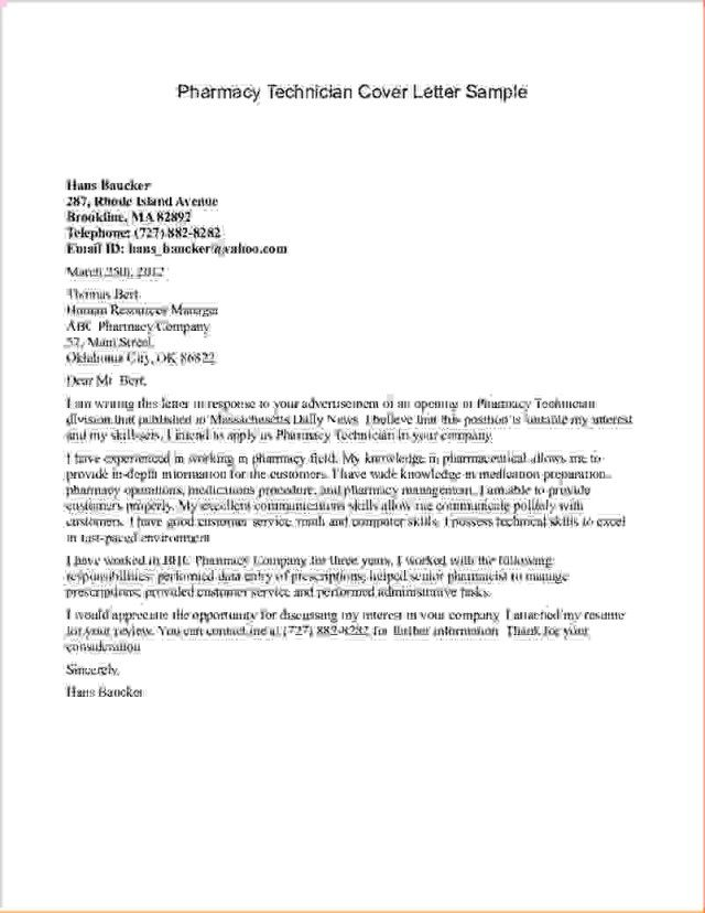 27 Pharmacy Technician Cover Letter Resume Example Sample No Experience