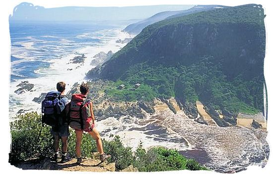 View onto the Oakhurst Huts on the third day hiking the Otter hiking trail in the Western Cape