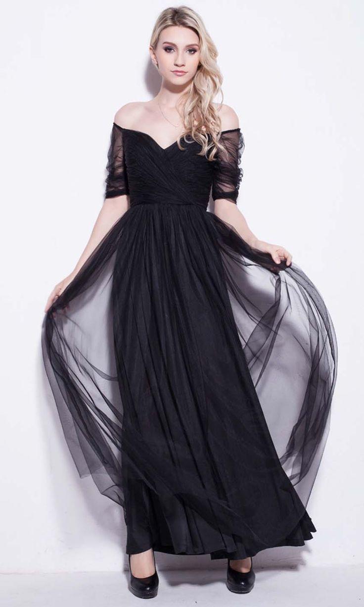 Black Net Off Shoulder Long Prom Dresses UK KSP250