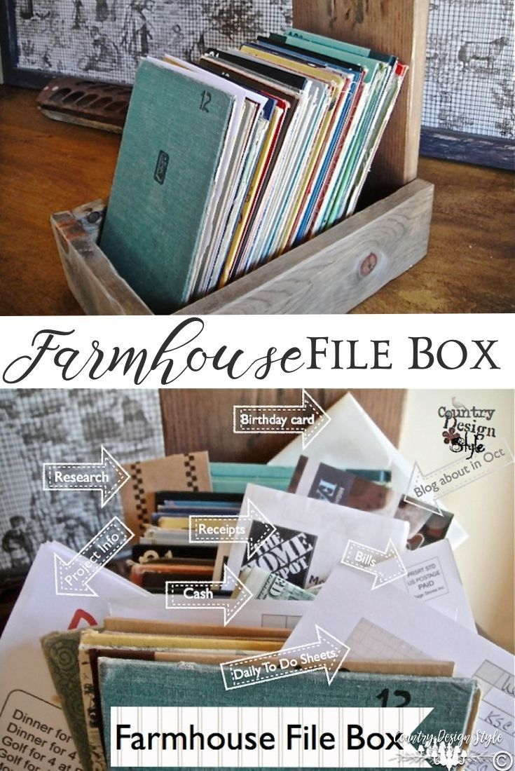 Pin this Farmhouse Style file box to help organize your days and papers   Country Design Style   http://countrydesignstyle.com