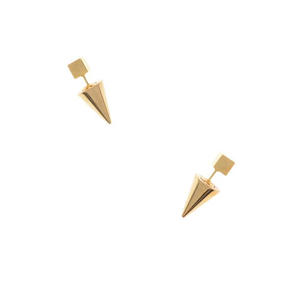 Spiked Cube Earrings (430 MXN) ❤ liked on Polyvore featuring jewelry, earrings, gold, post earrings, spike jewelry, spike earrings, 18k jewelry and 18 karat gold earrings