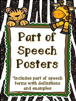 These cute jungle theme posters feature 8 parts of speech! -Noun -Verb -Pronoun -Adjective -Adverb -Conjunction -Interjection -Preposition  The font is clear and easy to read. Definitions and examples are included along with suggestions on how to use these in the classroom and in student journals.   These go great with my Parts of Speech Matching Memory Game